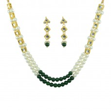 Double Strand Designer Necklace With Pearls And Kundan
