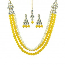 Multistrand Designer Gold Plated Necklace Set In Yellow Color
