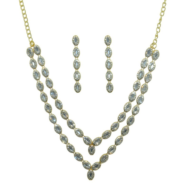 Ad Studded  Double Strand Necklace With Pair Of Earring