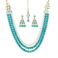 Multistrand Necklace Set In Sky Blue Color