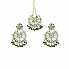 Designer Maang Tikka And Pair Of Earring With Dark Green Pearls