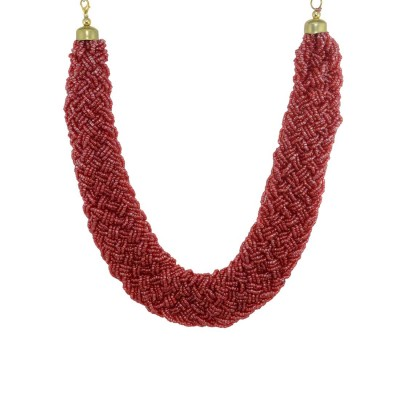 Designer Pearls Neckpiece In Maroon Color