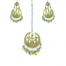 Beautiful Blue Color Gold Plated Maang Tikka With Earring Set
