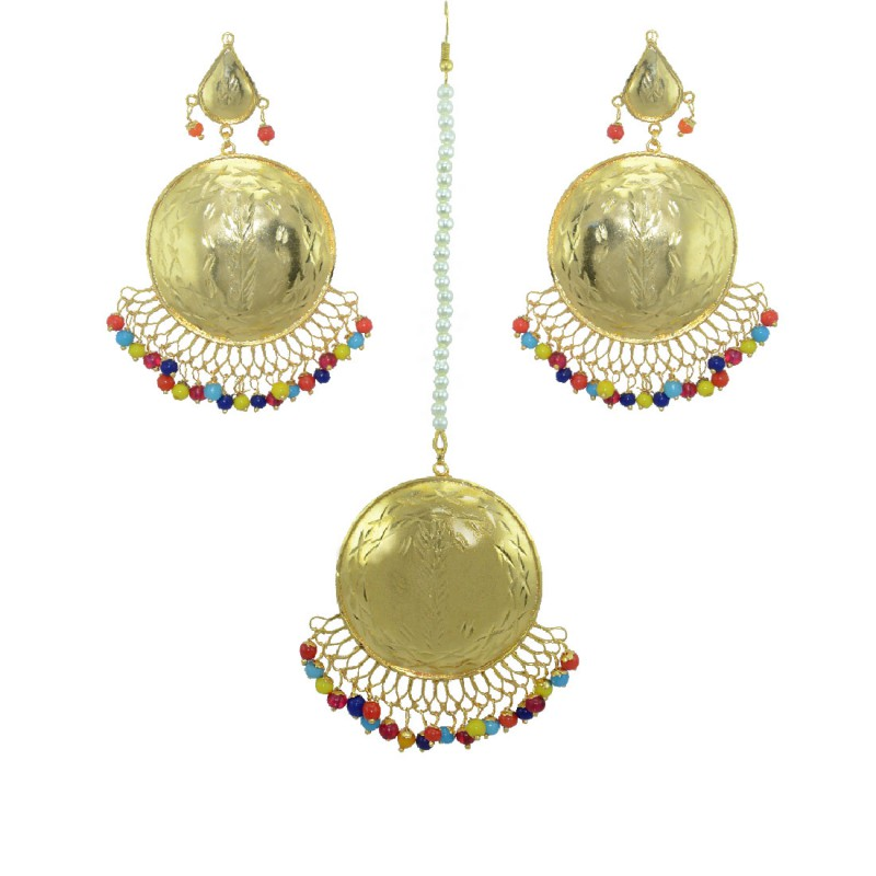 Beautiful Gold Plated Maang Tikka With Earring
