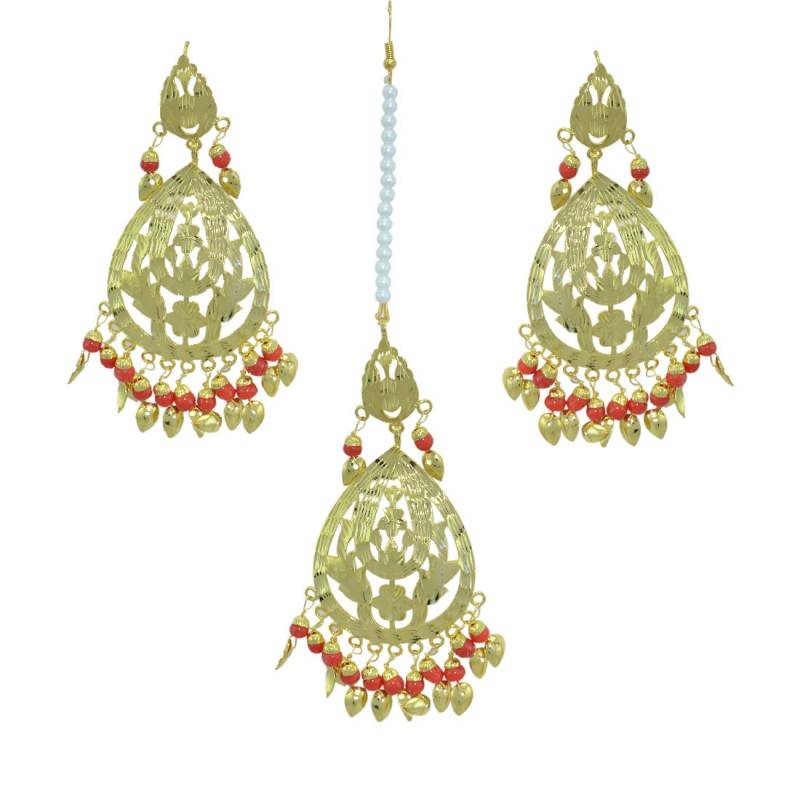 Beautiful Red Color Gold Plated Maang Tikka With Earring Set