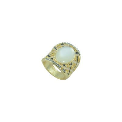 Designer Gold Plated Ring With Multiple Shinny Stones