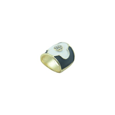 Designer Gold Plated Ring In Black Color