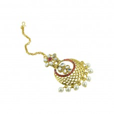 Gold Plated Maang Tikka With Red And White Stones