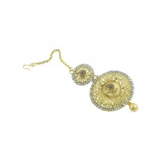 Stylish Gold Plated Maang Tikka With Multiple Stones
