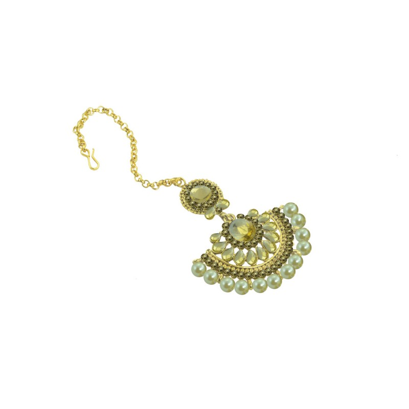 Gold Plated Maang Tikka With Shinny Pearls And Golden Stones