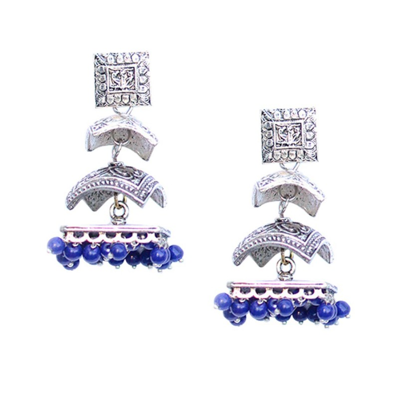Silver Plated Multiple Blue Stone Jhumki Earrings