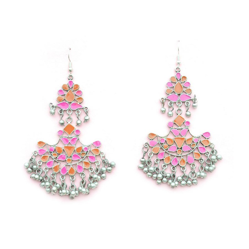 Oxidised Silver Toned ChandBalis in Multicolor