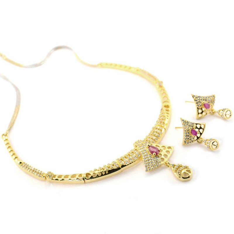 Golden Plated Stone Studded Necklace Set With Red Kundan