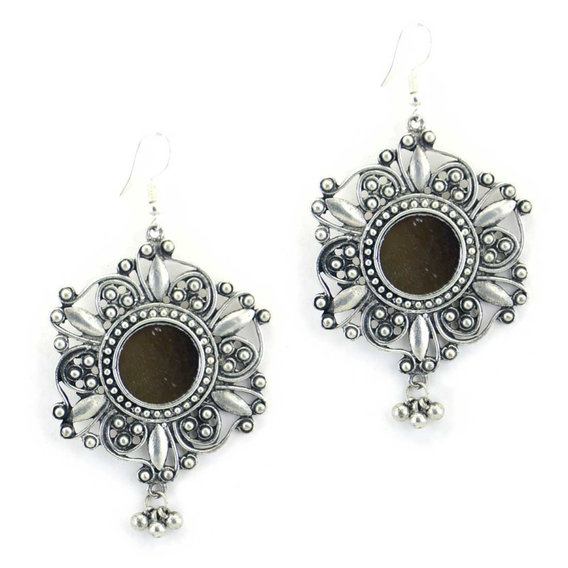 Oxidised Silver Plated Earrings With Black Glass