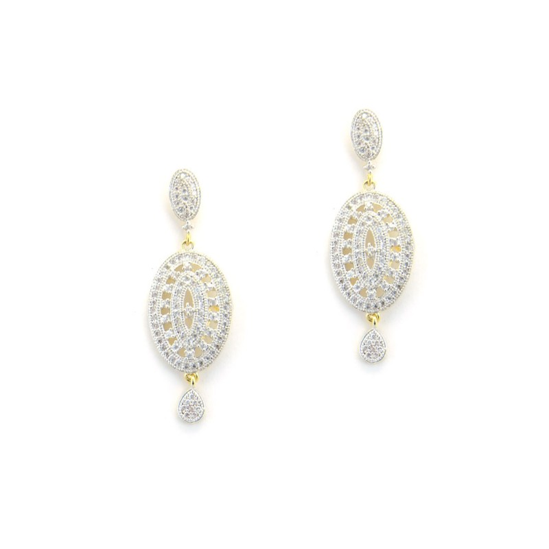 Beautiful Gold Plated  Earring With White Stone