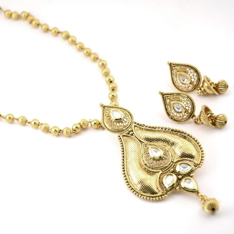 Gold Plated White Stone Necklace Set With Dangler Earrings