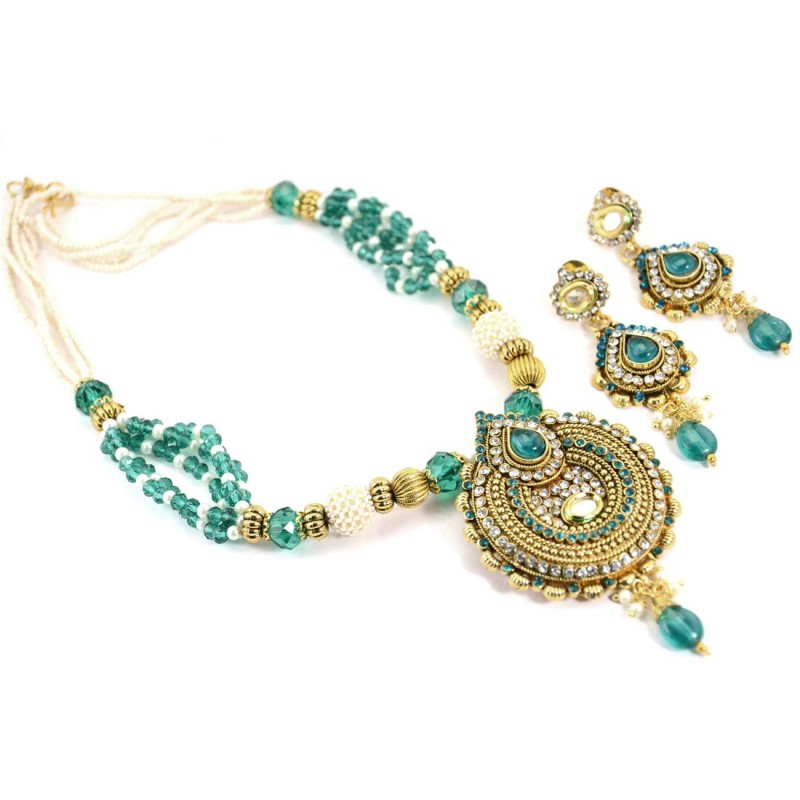 Sky Blue Golden Plated Necklace Set