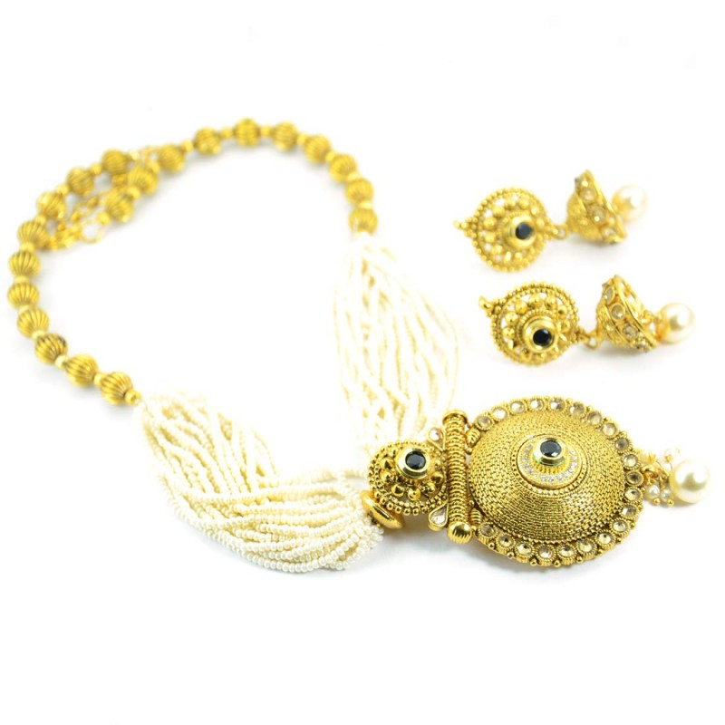 Gold Plated Necklace Set With Multiple Wired Pearls