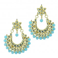 Golden Beaded Earrings In Sea Blue Color