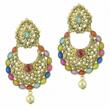 Gold Plated Multicolor Kundan Studded Chandbali