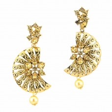 Gold Plated Designer Stone Studded Earrinng In Moon Shape