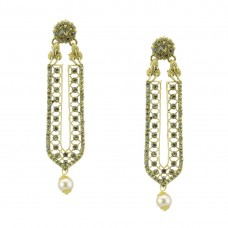 DesignerGold Plated Earrings With Multiple Shinny Stone