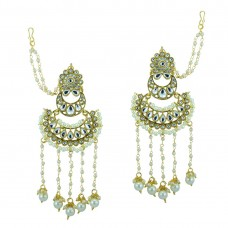 Gold Plated Earring With Multiple White Pearls And Shinny Stones
