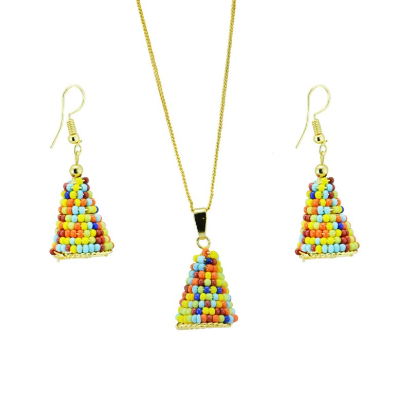 Multicolor pearl Pendant With Pair Of Earring