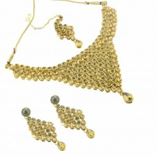 Designer Multi Stone Gold Plated Necklace Set