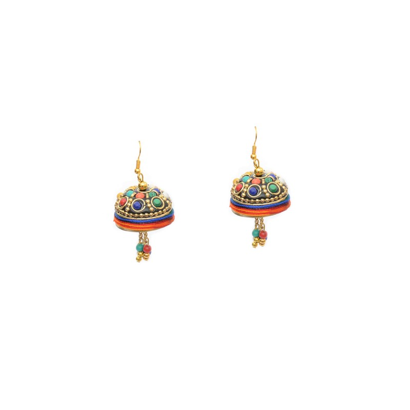 Red Plated Multicolor Jhumki Earring With Beads