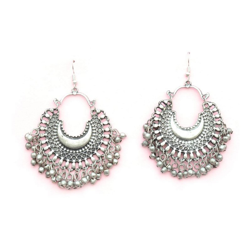 Oxidized Silver Toned Chandbalis With Bell Drops For Women