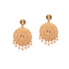 Floral Design Kundan Dangler Earrings With Golden Stone