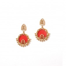 Beautiful Gold Plated Dangler With Red Stone