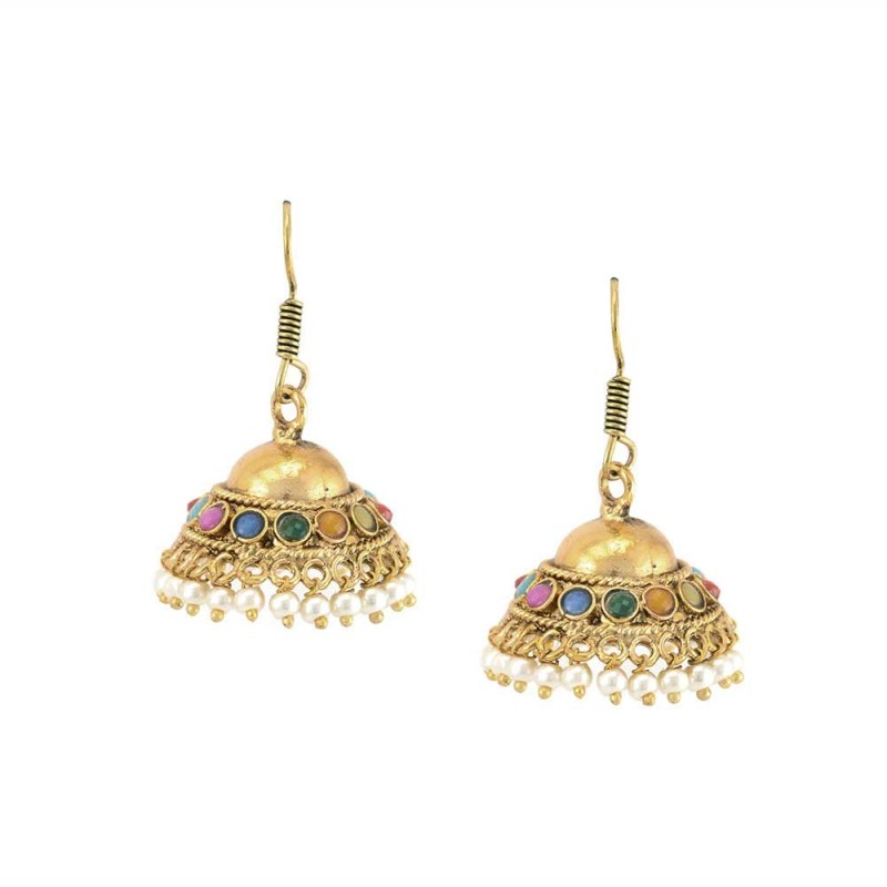 Beautiful Golden Jhumki With Multicolor Pearls And Beads