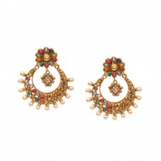 Golden Chandbalis With Multicolor Kundan