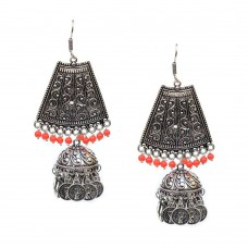 Oxidised Silver Toned Jhumki In Pink Color Pearls