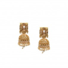 Gold Plated Jhumki With White Pearls