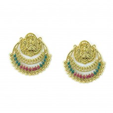 Designer Golden Plated Chandbalis with Multicolor kundan