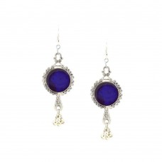 Designer Silver Plated with Blue Studded  kundan Earrings