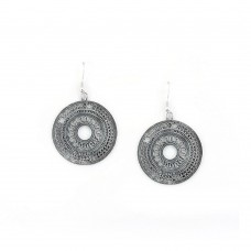 Oxidised Silver Toned ChandBalis in Circular Shape