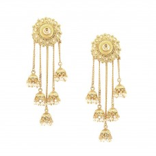 5 in 1 Jhumki Earrings With White Pearls