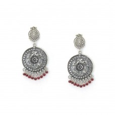 Maroon Beads Drop Silver Plated Dangler Earrings