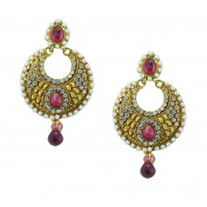 Gold Plated Studded Chandbalis In Pink Stone