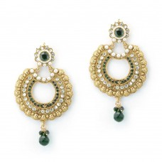 Beautiful Designer Gold Plated Studded Chandbalis With Green Tear-Drop