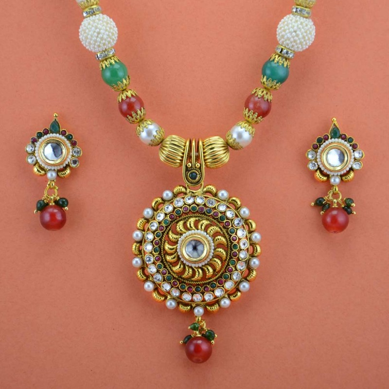 Red & Green Stone Pearl Floral Design Gold Plated Necklace Set