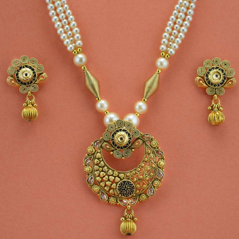 Gold Plated White Pearls and Golden Beaded Necklace Set