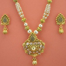 Gold Plated White Pearls and Stones Necklace Set