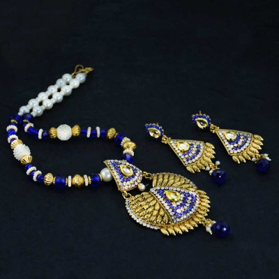 Blue Golden Plated Necklace Set With White Pearls
