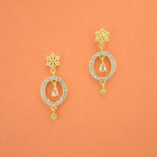 Gold Plated Dangler With Multiple White Stones