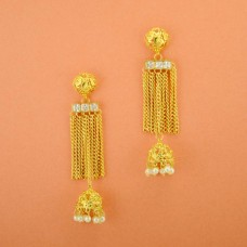Gold Plated Hanging Earrings With Multiple Pearl